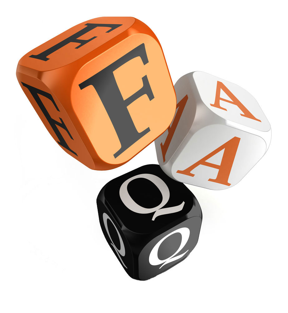 Decorative text of dice with the letters F. A. Q.